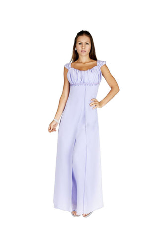 Gathered Strap Lilac Maxi Evening Dress