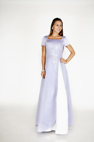 Solid Satin A Line Gown With Floral Embroidery