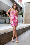 Le Rosario - Floral Bodycon Short Pink Evening Dress