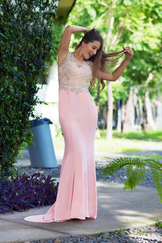 Le Lawson - Embellished Bodycon Long Blush Pink Evening Dress