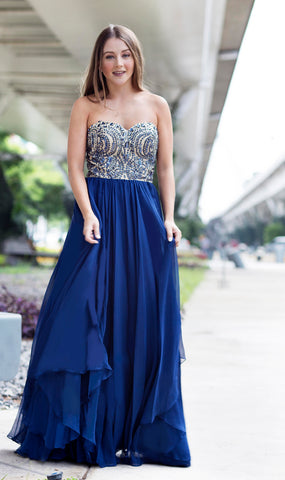 Le Jenner - Sweetheart Waterfall Long Navy Blue Evening Dress