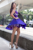 Le Garner - Short Mini A-Line Purple Evening Dress