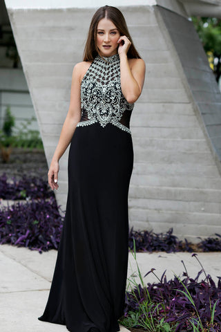 Le Carey - Halter Neck Beaded Long Black Evening Dress