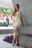 Le Diane - V-Neck Metallic Beaded Short Gold Evening Dress