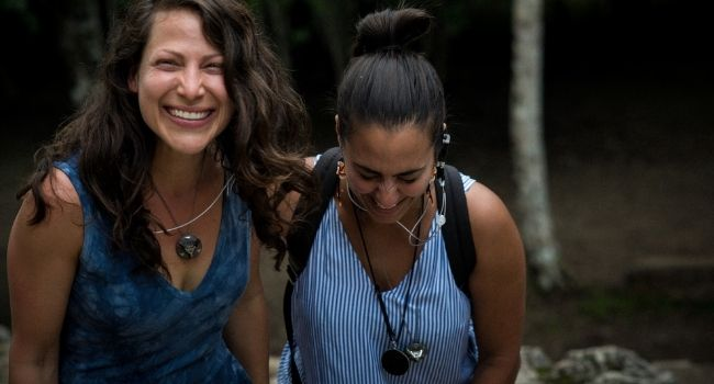 Friends laughing ARK crystal in Coba Mexico