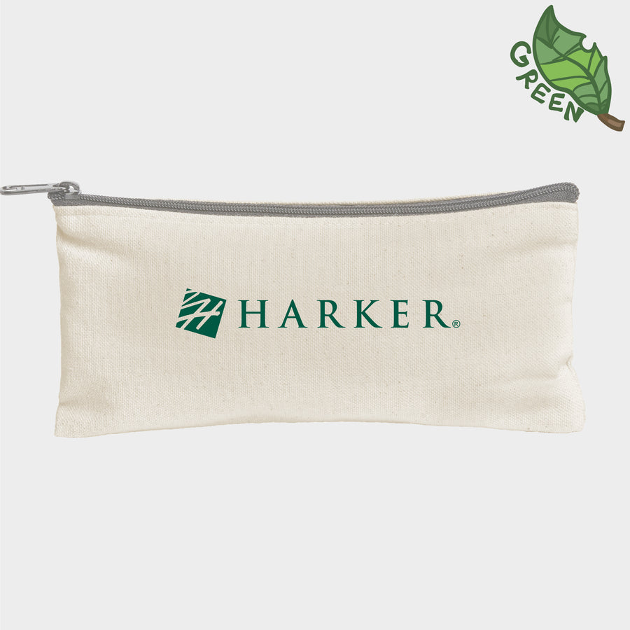 Harker Logo Natural Canvas Pencil Pouch