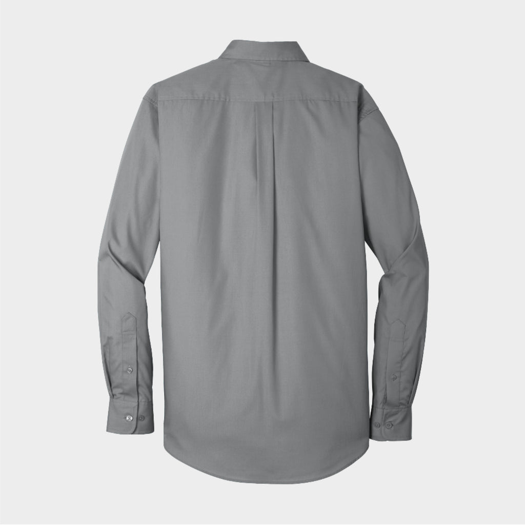 Grey Long Sleeve Carefree Poplin Shirt
