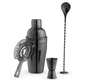 Gunmetal Black Barware Set