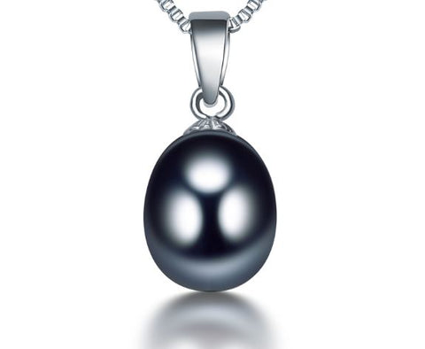 Romantic Sterling Silver Black Natural Pearl Pendant Becklace for Women