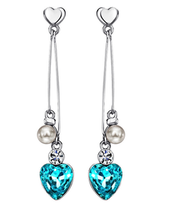 Heart Crystal, Rhinestone & Simulated Pearl Drop Long Earrings