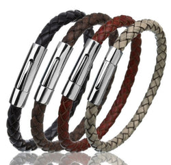 Men's Braided Leather Bracelet Stainless Steel Snap Clasp Bracelet