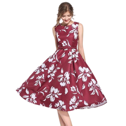 Vintage Floral Print Belted Swing Dress for Women