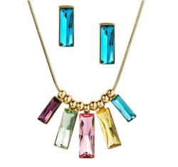 Multi-color Crystal Jewelry Necklace & Earrings Set