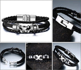 Men's Black Leather Bracelet with Metal Clasps