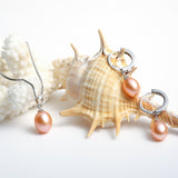 Freshwater Pearl Necklace and Earrings Set in Sterling Silver for Women