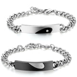His and Hers Stainless Steel CZ Crystal Couple Matching Heart Bracelets