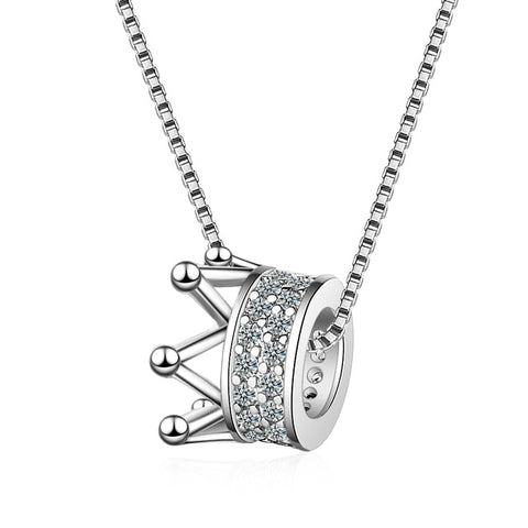 silver tiara pendant with chain necklace for women