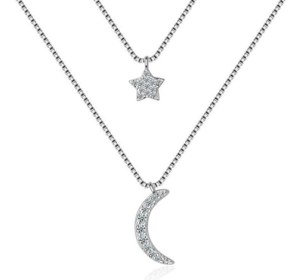 Double-layer Moon and Star Sterling Silver Necklace For Women