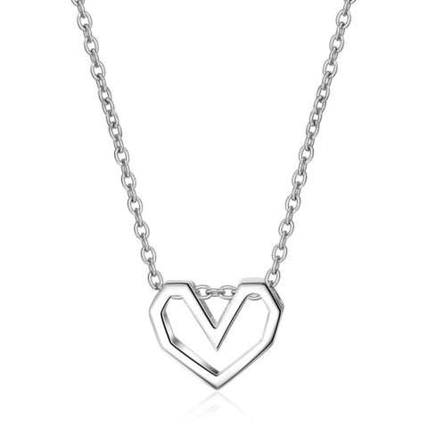 sterling silver minimalist geometric heart pendant necklace