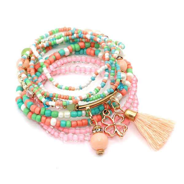 Multilayer Seed Beads with Tassel Clover Charms Bracelet