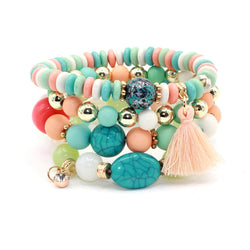 Multilayer Crystal, Beads and Tassel Bracelet