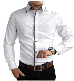 Cotton/Polyester Fitted Dress Shirt for Men's