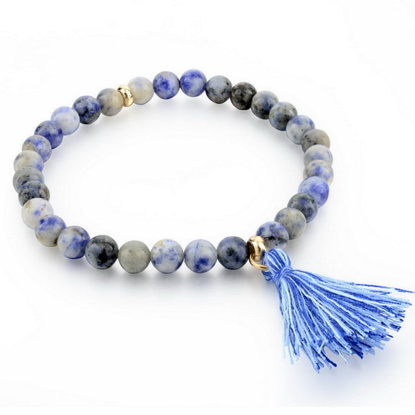 Natural Stone Beads Bracelet with Tassel or Charm