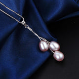 Tassel Three Pearl Line Pendant Necklace with 18 in Silver Snack Chain for Women