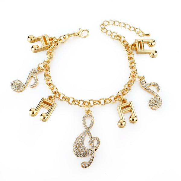 Bracelet Bangle with Crystal Note Charms