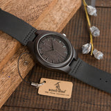 Mens Black Wooden Watch with Wooden Band