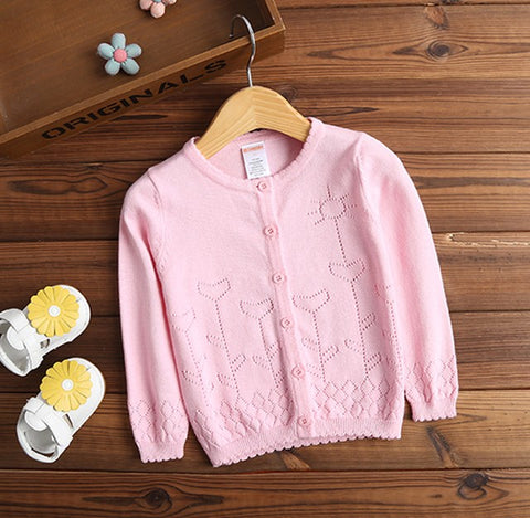 Girl's Pastel Color Cardigan Sweater