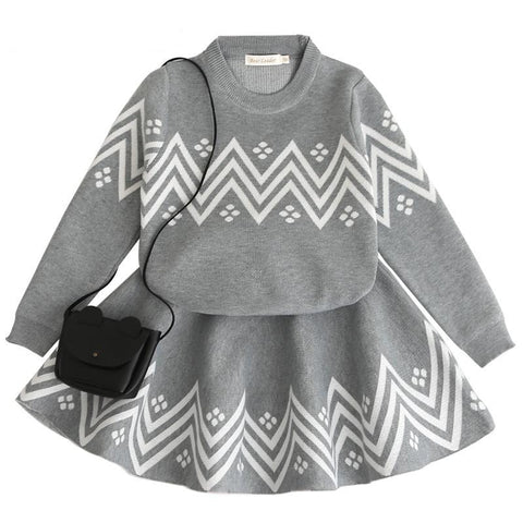 Sweater and Skirt Knit Set for Girls
