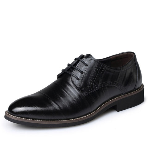 Men's Formal Low-Heel Leather Shoes