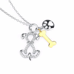 Sterling Silver Bone Dog Pendant Necklace Animal