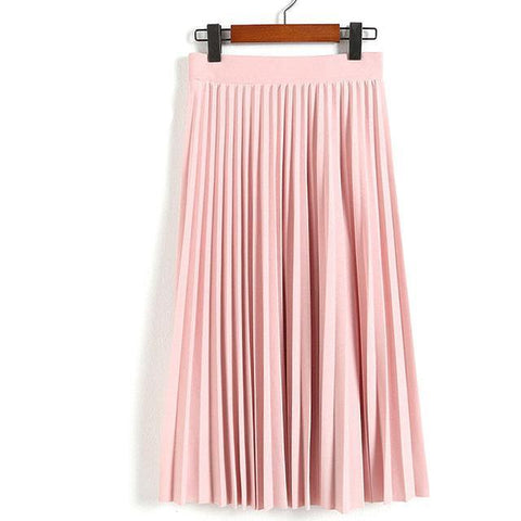 Women's Pleated Solid Color Skirt with Elastic Waist