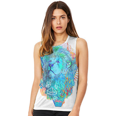 Vintage Lions Head Women's Flowy Scoop Muscle Tank