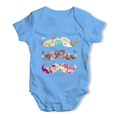Floral Moustache Baby Grow Bodysuit