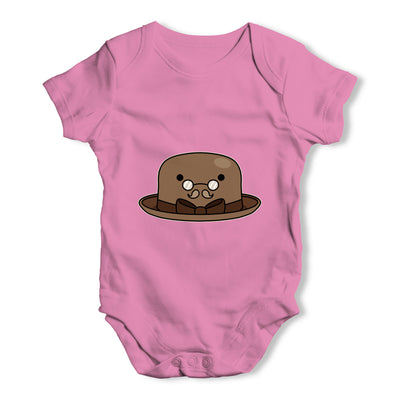 Bowler Hat Glasses Baby Grow Bodysuit
