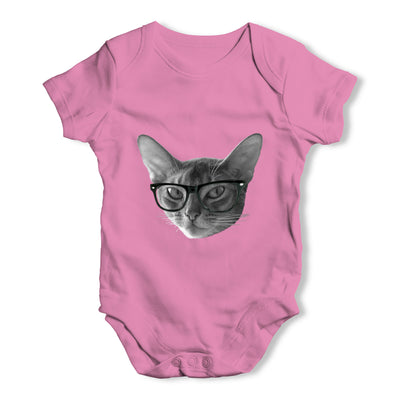 Hipster Cat Nerdy Baby Grow Bodysuit