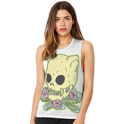 Skull Roses Women's Flowy Scoop Muscle Tank