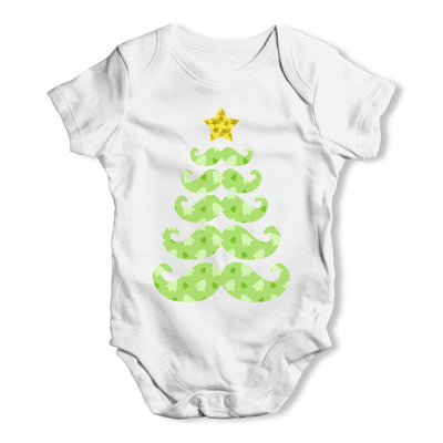 Moustache Christmas Tree Baby Grow Bodysuit
