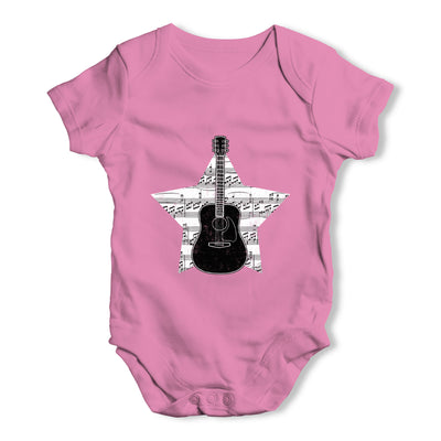 Guitar Music Notes Star Baby Grow Bodysuit
