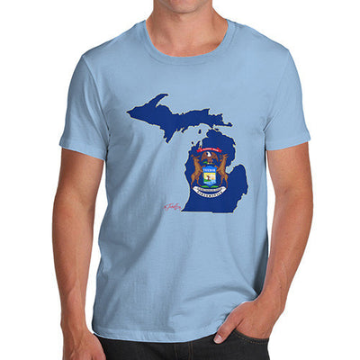 Men's USA States and Flags Michigan T-Shirt