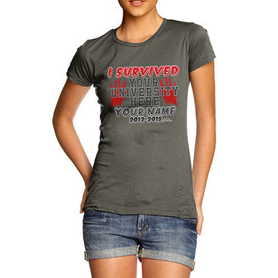 Women's Personalised I Survived University T-Shirt