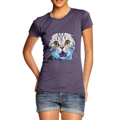 Women's Funny Surprised Cat T-Shirt