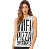Wifi, Pizza, Sweatpants Women's Flowy Scoop Muscle Tank