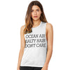 Ocean Air, Salty Hair, Don't Care Women's Flowy Scoop Muscle Tank