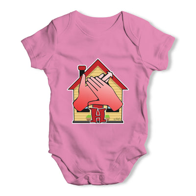 Sign Language Letter H Baby Grow Bodysuit