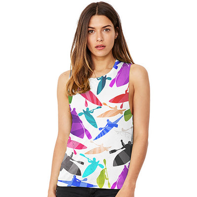 Canoeing Rainbow Collage Women's Flowy Scoop Muscle Tank