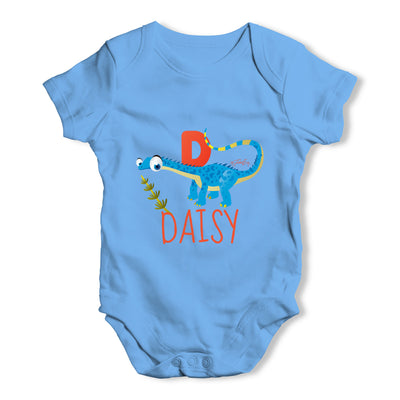 Personalised Dinosaur Letter D Funny One-piece Infant Baby Bodysuits Babygrows Onesie